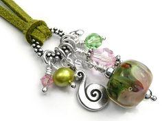 Lampwork Glass Pendant - Peony
