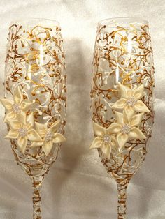 """bohemian champagne flutes   Hand Painted Wedding Champagne Flutes Set of 2 """"Lace"""""""