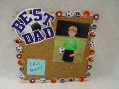 """Father's Day cork board, using CTP's Sports Cut-Outs and 2"""" Team Spirit Navy & White Designer Letter Stickers."""