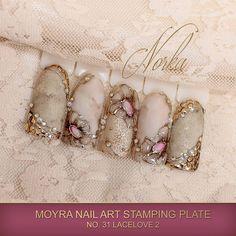 Nail art with Moyra Stamping Plate No. 31 Lacelove 2, Moyra SuperShine Colour Gel No. 540 Caffe Latte, Moyra Stamping Polish SP 09 Gold, Moyra Magic Foil  #moyra #nailart #stamping #plate #lacelove2 #supershine #colourgel #caffelatte #koromnyomda #koromdiszites #szineszsele #stampingpolish #nyomdalakk #gold #arany #magicfoil #watercolours