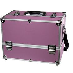 Makeup Train Case  Professional 14 Large Make Up Artist Organizer Kit  Shoulder Bag With Adjustable Dividers 4 Trays  Key Lock  The Cosmetic Studio Box Is Designed To Fit all Cosmetics  Pink * Details can be found by clicking on the image. Note:It is Affiliate Link to Amazon.
