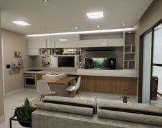 Projeto do escritório Atelier da Reforma - Render SketchUp + V_ray - Sala de estar e cozinha integrada