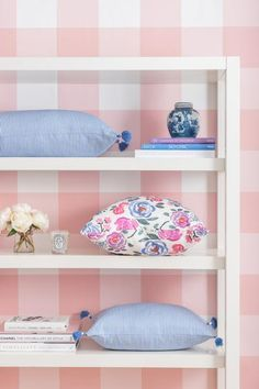 the perfect blush wallpaper! Love the oversized buffalo check | Caitlin Wilson Design