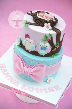 Baby Shower Ides For Girls Themes Owls Pink Babyshower Ideas Pretty Cakes, Cute Cakes, Beautiful Cakes, Amazing Cakes, Gateau Baby Shower, Baby Shower Cakes, Fondant Cakes, Cupcake Cakes, Fruit Cakes