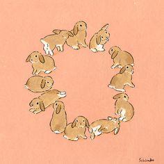 Acrylic Paint by Schinako Moriyama. Schinako Moriyama is an illustrator as bunny art from Fukushima, Japan Continue reading and for more Acrylic art→View Website Bunny Drawing, Bunny Art, Bunny Bunny, Art And Illustration, Lapin Art, Rabbit Art, Wow Art, You Draw, Cute Art