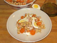Receta de garbanzos de verano con thermomix en apenas 20 minutos. Un plato completo y equilibrado para salir del paso. Con zanahoria, atún y huevo.