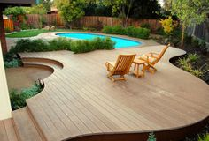 Contemporary small oval inground pool designs with wooden decks