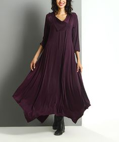 Look what I found on #zulily! Plum Shawl Collar Handkerchief Maxi Dress #zulilyfinds