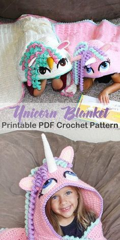 Make an adorable unicorn blanket for your unicorn lover. unicorn crochet pattern… Make an adorable unicorn blanket for your unicorn lover. Crochet Simple, Cute Crochet, Crochet Crafts, Crochet Baby, Crochet Projects, Crochet Rabbit, Crochet Mermaid, Crochet Beanie, Beautiful Crochet