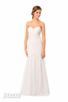 Bari Jay look book - strapless, white, long bridesmaid dress