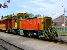A diesel locomotive of Kismaros-Királyrét Forest Railway waiting at Kismaros station, Hungary
