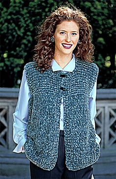 Garter Yoke Vest pattern by Lion Brand Yarn - Knitting patterns, knitting designs, knitting for beginners. Crochet Vest Pattern, Loom Knitting Patterns, Crochet Shawl, Knitting Designs, Knitting Yarn, Free Knitting, Knit Crochet, Crochet Vests, Free Pattern