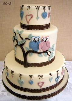 Owl wedding cake, remake for valentine's day with just the middle tier!
