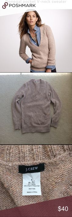 J. Crew v-neck sweater J. Crew sweater • deep v-neck style • kangaroo pocket • long sleeves • speckled cream on tan • hits at hips • great condition • fast same/next day shipping J. Crew Sweaters V-Necks