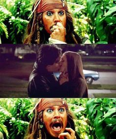 Damon and Elena. Johnny Depp makes it so much better :) ha.