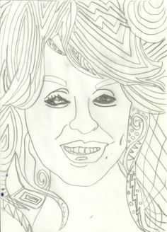 Dolly Parton Intricate Coloring Page
