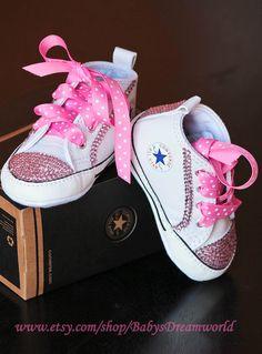 9b3f33a6a3d Items similar to baby Converse Swarovski Rhinestones shoes