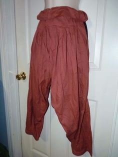 Woman's 2X/1X  BURNT ROSE India 100% cotton PLAIN PLEATED HAREM PANTS NWOT  #HAREMPANTS #ONESIZEFITSMOSTXLG1X2X