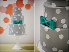 Gray and white polka-dotted cake finished with a teal bow