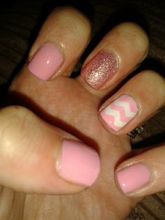 Pink chevron stripes nail art