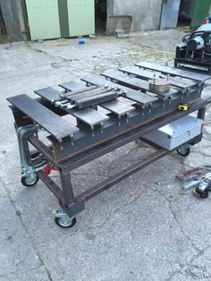 Welding table picture thread - WeldingWeb™ - Welding forum for pros and enthusiasts Welding Jig, Welding Bench, Welding Table Diy, Welding Cart, Welding Shop, Welding Tools, Welding Workshop, Metal Workshop, Metal Working Tools