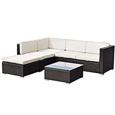 Tangkula 4 PCS Outdoor Patio Wicker Furniture Set Garden Poolside Sectional Sofa Sets