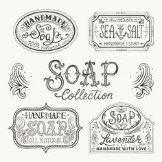 Hand Drawn Labels And Patterns For Handmade Soap Bars. Stock Vector – Illustration of white, vintage: 54012204 - Soap Handmade Soap Packaging, Handmade Soap Recipes, Handmade Soaps, Printable Labels, Free Printables, Free Label Templates, Labels Free, Soap Labels, Vintage Labels