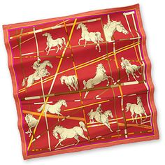 """Saut d'Obstacles - Red  Silk twill scarf, hand rolled, 36"""" x 36"""""""