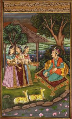 A painting of Mughal Emperor Shah Jahan and his wife ...
