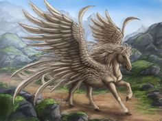 PEGASUS - a divine, winged horse. He brought lightening & thunder from Olympus at the bidding of Zeus. Zeus allowed Bellerophon to ride Pegasus to help slay the Chimeron.