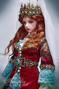 Historical stylization of the Turkish costume for an image Hurrem Sultan for our customer from Norway. Red Dolls, Ooak Dolls, Dolly Fashion, Fashion Dolls, Bjd, Kosem Sultan, Witch Outfit, Glam Doll, Hey Gorgeous