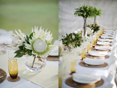 Justine Rose wedding styling and flowers- Foster, AU Protea Centerpiece, Green Centerpieces, Centerpiece Decorations, Reception Decorations, Wedding Centerpieces, Wedding Table, Protea Wedding, Flower Bouquet Wedding, Bridal Bouquets