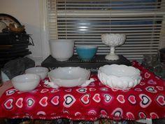 FIRE KING Milk Glass Lot-Mixing bowls, Bowls Pheasant Bowl,2 Opaque Bowls ETC #MixedLot