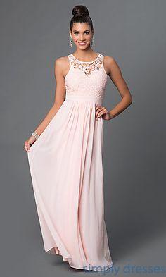 Lace Bodice Backless Long Formal Dress