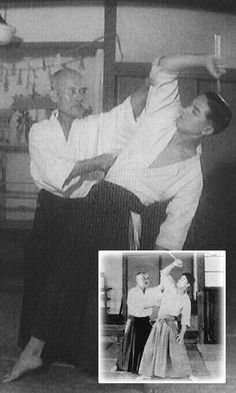 1940. Morihei UESHIBA with his student Gozo SHIODA sensei, pointing the effective impact of deriving the arm instead of just pushing it back to him.