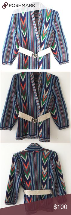 Marc by Marc Jacobs Chevron Woven Jacket Authentic Marc by Marc Jacobs multicolor chevron woven jacket with elastic belt. Gold hardware buckle. Like new and in very good condition. Worn very little and dry cleaned professionally. Marc by Marc Jacobs Jackets & Coats