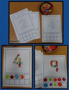 "Fine motor and counting fun (free printable) from Rachel ("",) Preschool Curriculum, Preschool Printables, Preschool Math, Kindergarten Math, Preschool Ideas, Teaching Ideas, Number Games Preschool, Learning Numbers, Math Games"