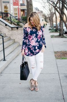 white distressed jeans spring outfit - For more pretty Spring outfits or to shop this look, head to bylaurenm.com!