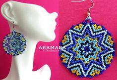 Mexican Huichol Beaded Blue Round Star Earrings AR-0046 by Aramara