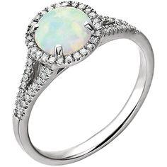 14kt White Created Opal & 1/5 CTW Diamond Ring – Sparkle & Jade