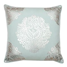 The neutral backdrop of this pillow and ornate silver foil design blend perfectly for a stylish finish.