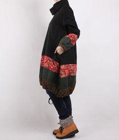 Winter loose padded coat/ linen babydoll padded dress/ by MaLieb