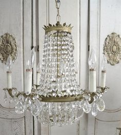 Vintage brass empire chandelier by FullBloomCottage on Etsy
