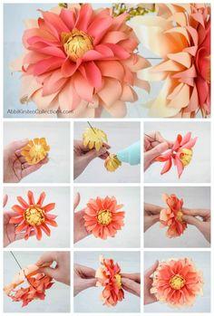 Paper Dahlia, Crepe Paper Flowers, Dahlia Flower, Paper Peonies, Small Flower Design, Flower Designs, Flower Crafts, Diy Flowers, Wall Flowers