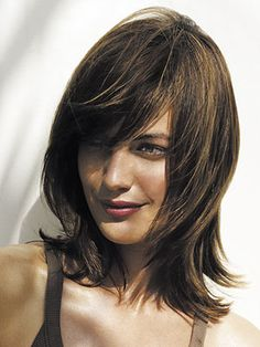 More of a chocolate base in a Lob (long bob) length, with side swept bangs and swingy layers. Would be fun & super cute .
