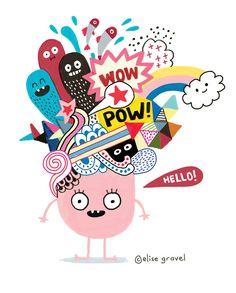 Elise Gravel illustration • monster • cute • doodle • drawing • art • children • imagination