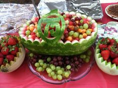 A watermelon basket my dad carved for his friend's 75th birthday.