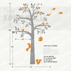 Tree decal with shelves