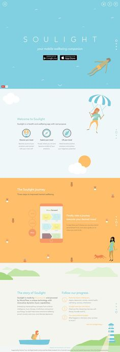 - One Page Website Award One Pager filled with happy illustrations promoting a health and wellbeing app called 'Soulight'.One Pager filled with happy illustrations promoting a health and wellbeing app called 'Soulight'. Website Design Inspiration, Website Design Layout, Brochure Design Inspiration, Web Layout, Design Trends, Design Ideas, Simple Website Design, Menu Design, Layout Inspiration