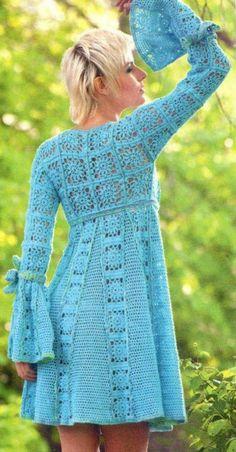 Crochet dress PATTERN, tutorial in ENGLISH crochet dress with granny squares, empire waist dress crochet pattern, bell sleeves crochet dress – Granny Square Crochet Summer Dresses, Black Crochet Dress, Crochet Skirts, Crochet Clothes, Lace Dress, Dress Summer, Knit Dress, Pull Crochet, Crochet Shawl